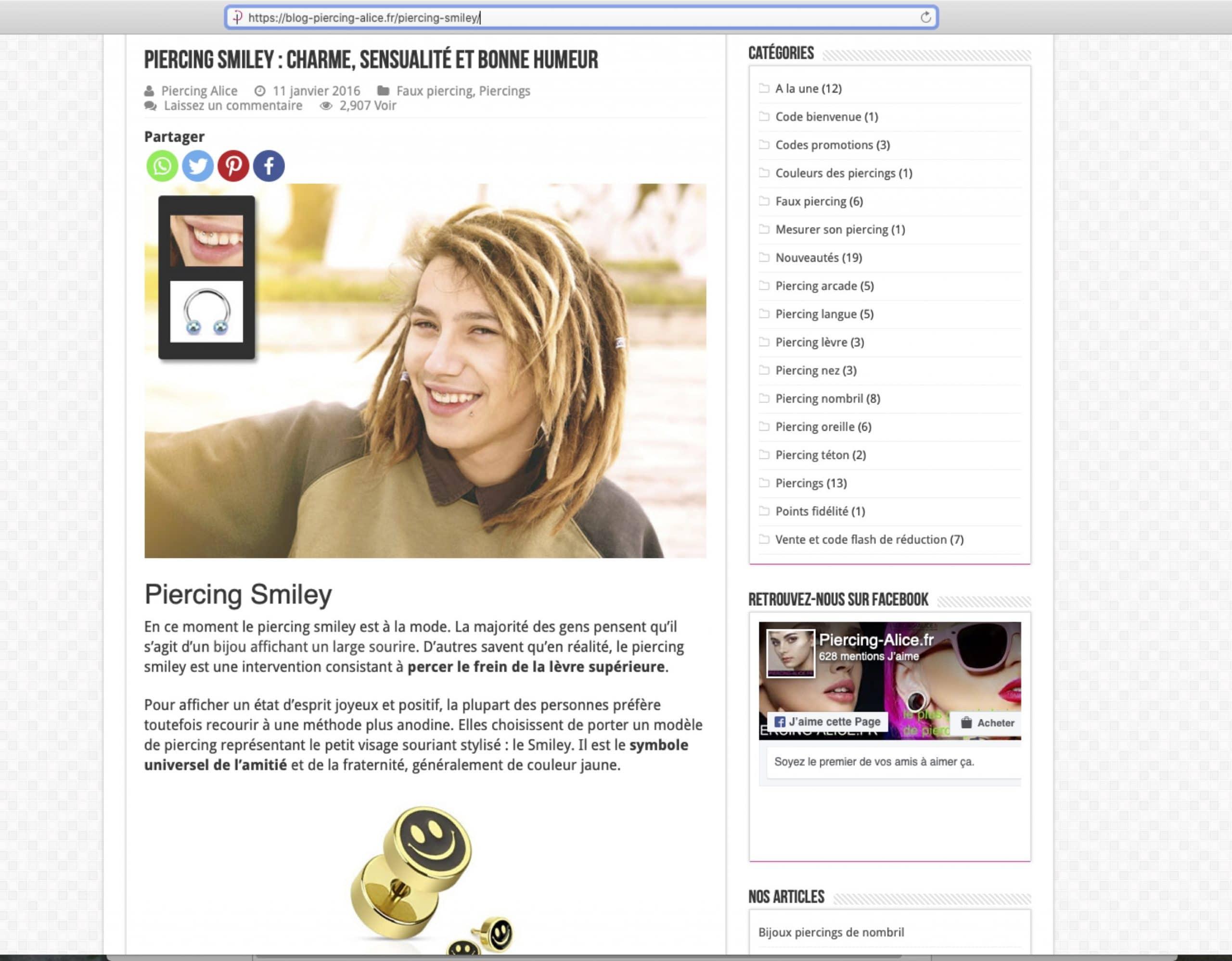 Rédaction d'un article sur le piercing pour un blog