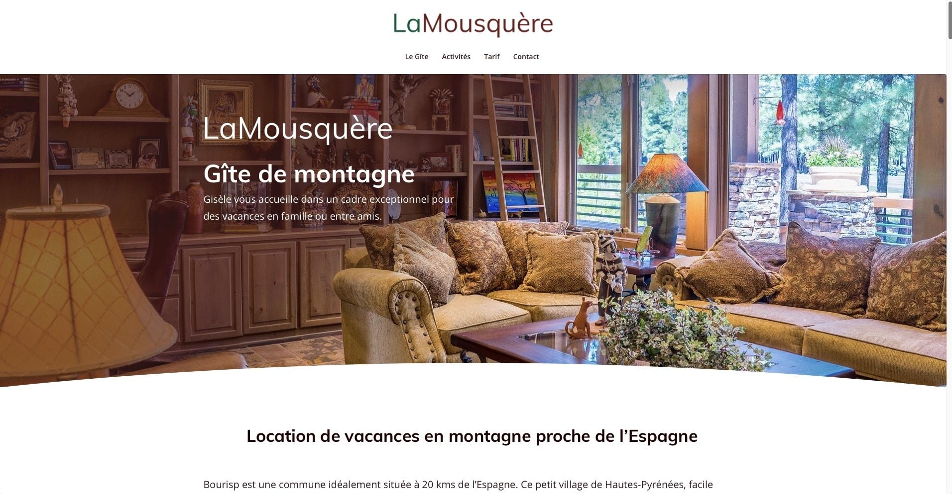 Création de site web pour gîte et chambre d'hôte extrait de projet numéro 1