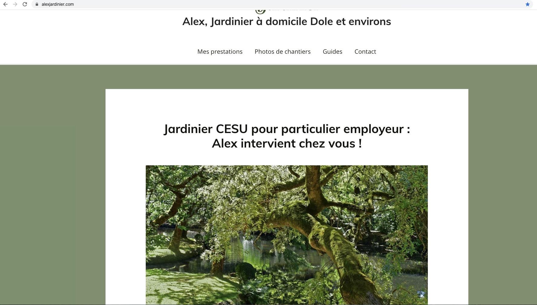 Extrait de la page d'accueil du site internet alexjardinier.com