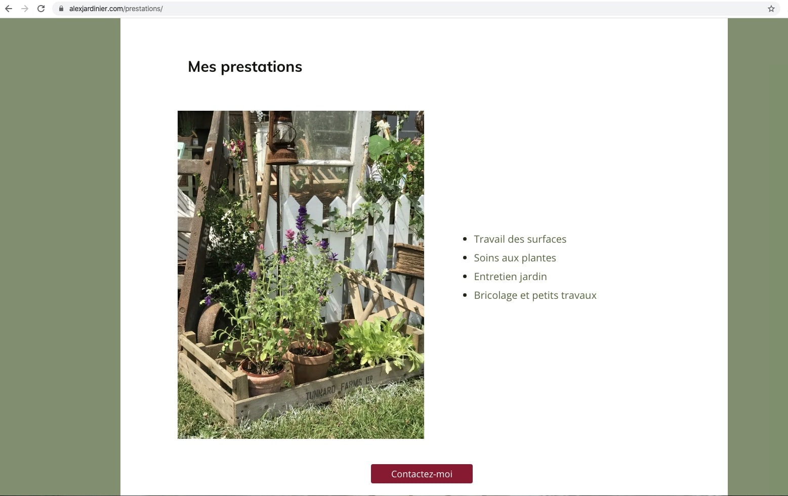 Extrait de la page prestations du site internet alexjardinier.com