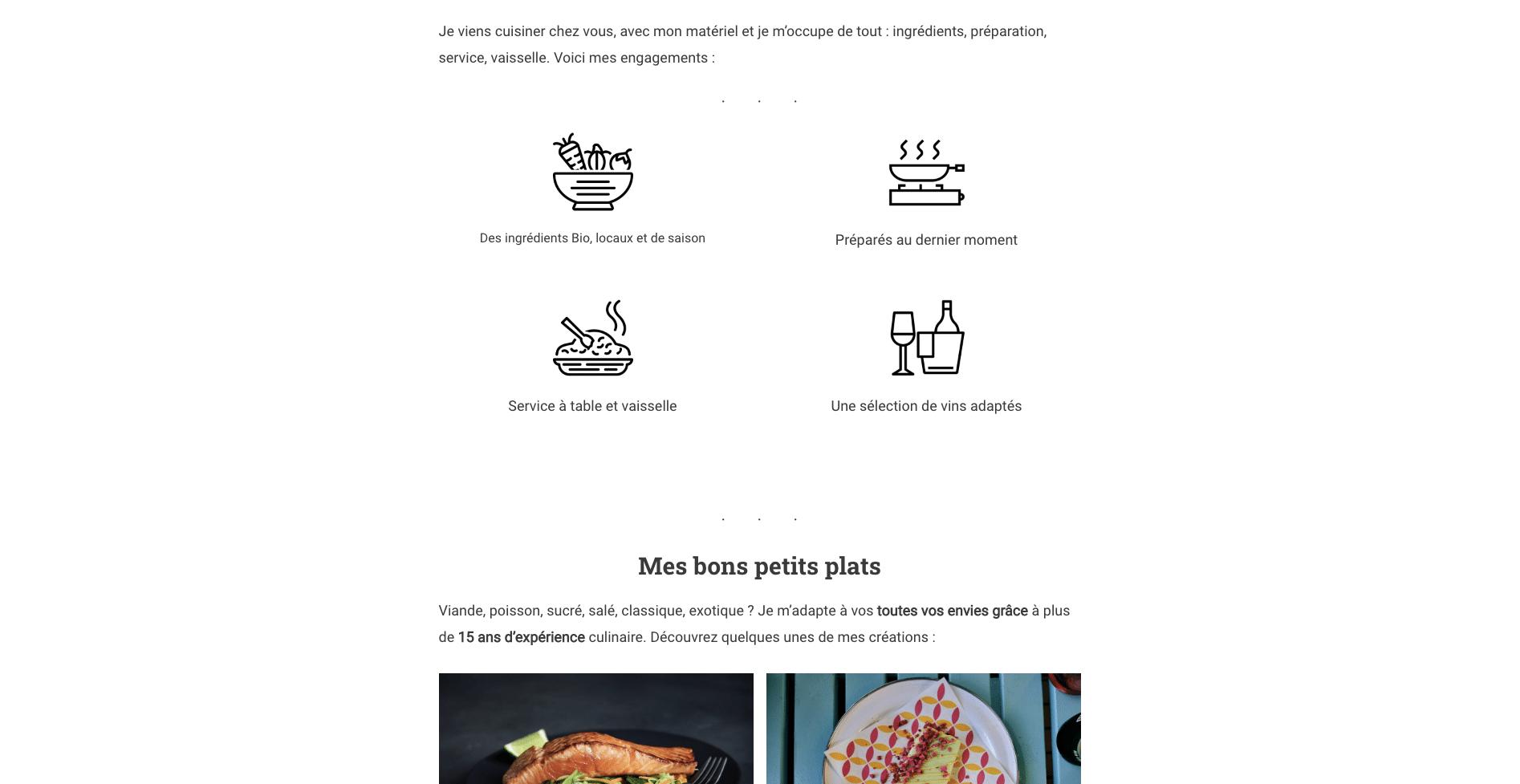 Création de site pour une chef à domicile extrait numéro 2