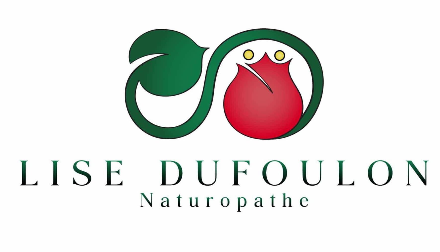 Logo couleur rouge et vert de la naturopathe Lise Dufoulon