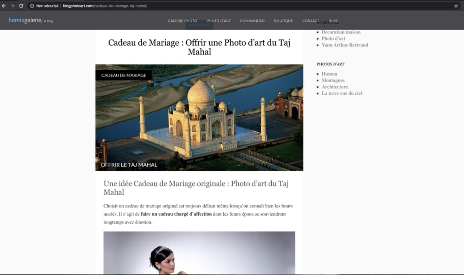 Article pour blog de Yann Arthus-Bertrand extrait sur photo comme cadeau de mariage