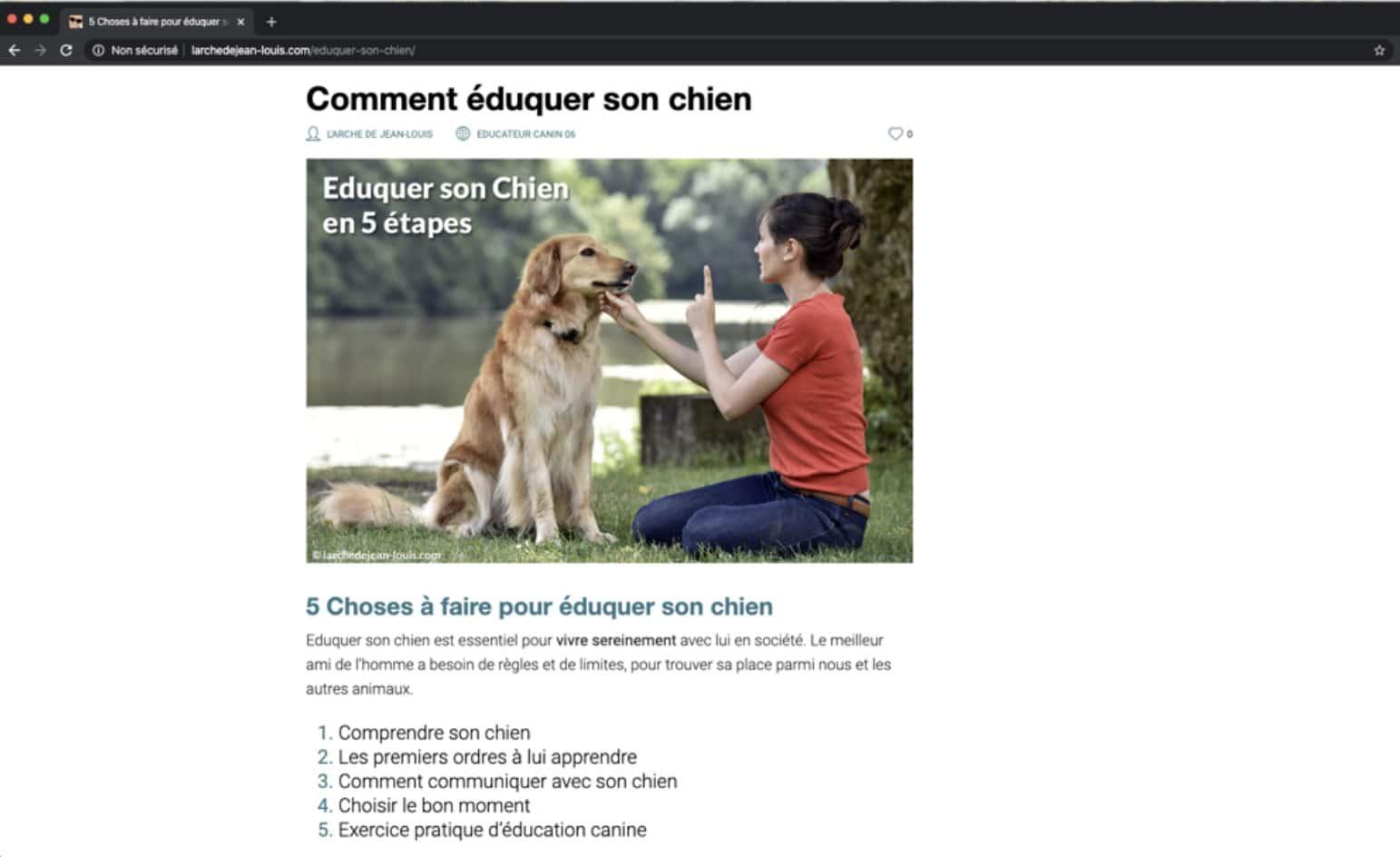 Rédaction d'un article sur l'éducation canine pour l'apprentissage de la propreté