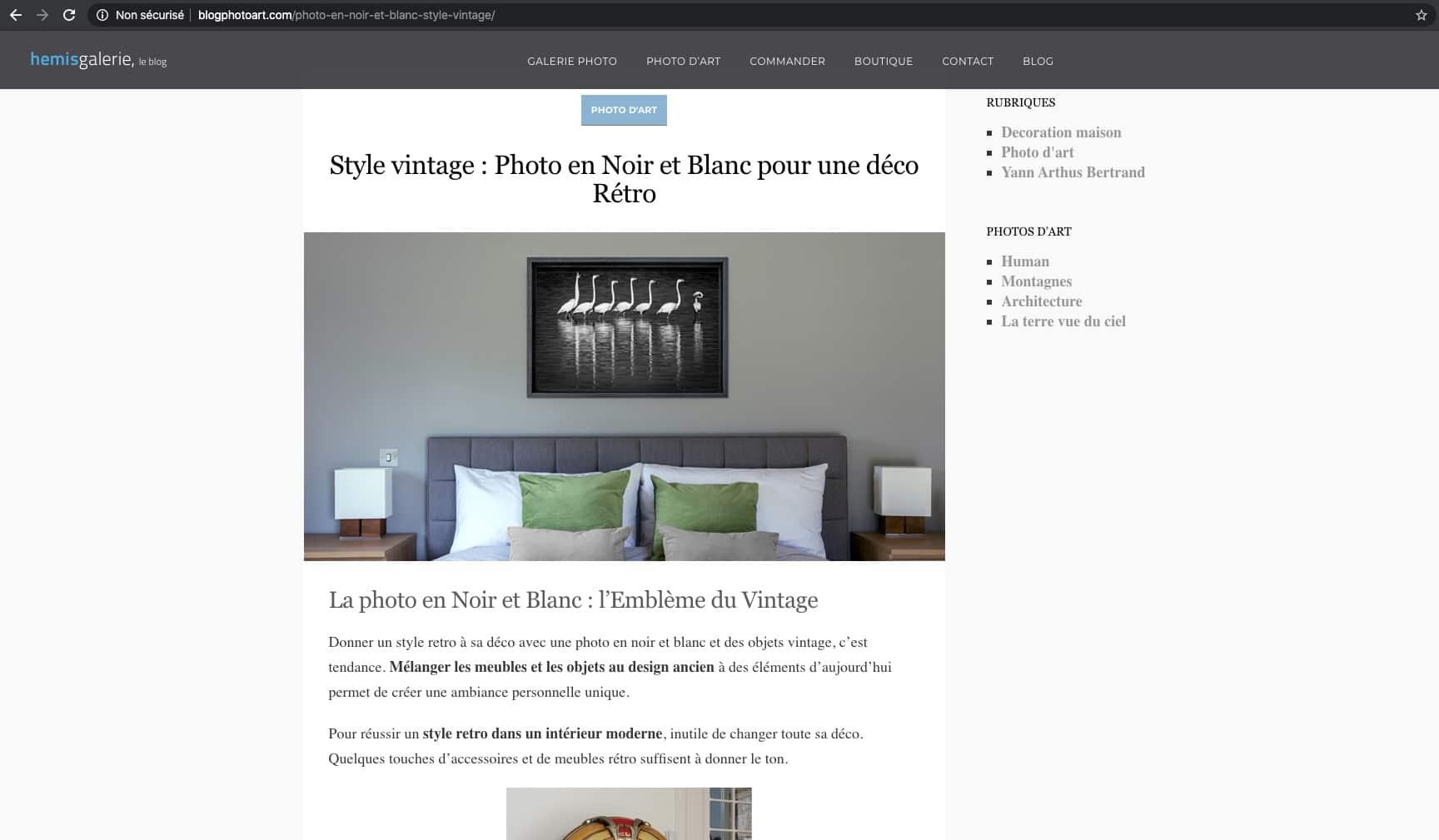Extrait de la rédaction d'un article pour un blog de déco luxe