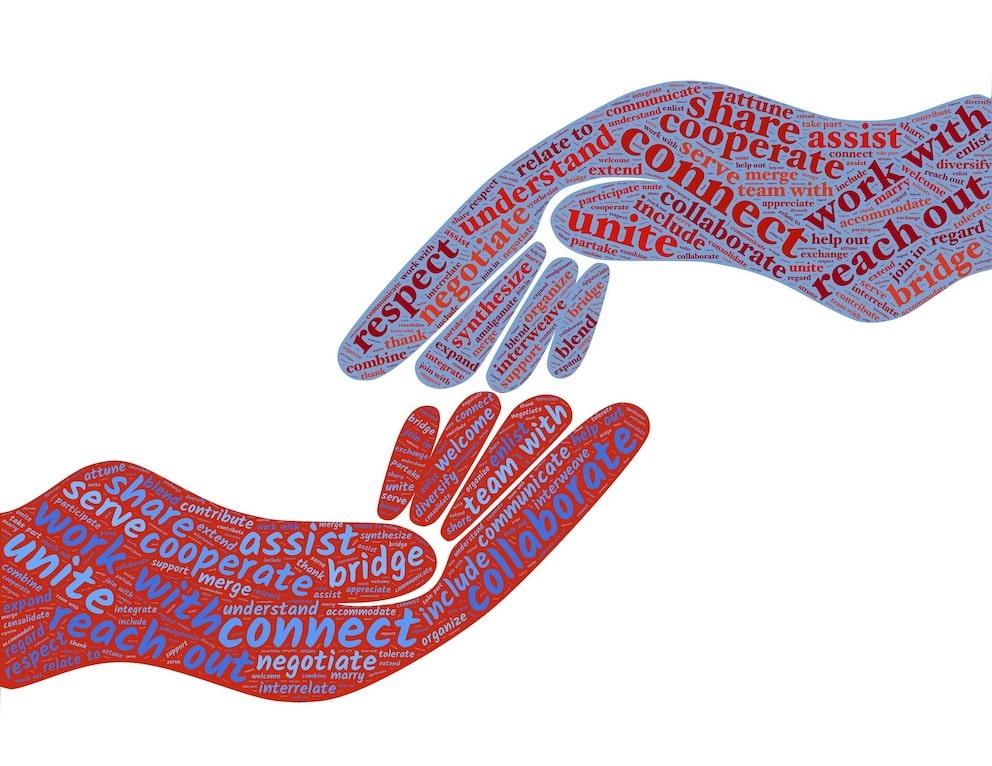 Deux mains dessinées pour symboliser l'accompagnement et le partenariat