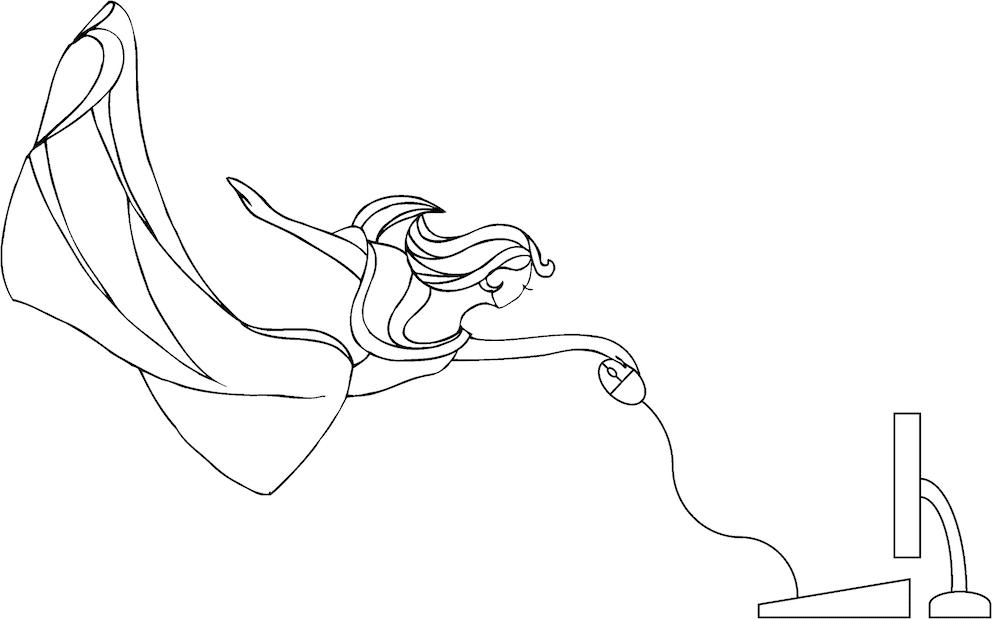 Créatrice de site vitrine à Dole. Dessin au crayon noir d'une femme volant devant un ordinateur
